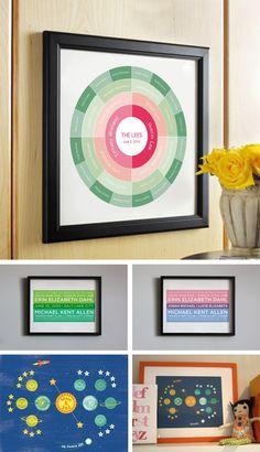 family trees, art prints, modern famili, famili tree, color combinations, modern family, tree art, families, kid room
