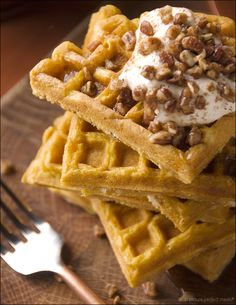 I want right now!! pumpkin waffles with maple whipped cream