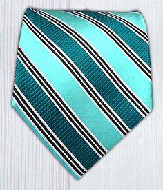 Stripe Type - Green Teal/Aqua    Ties - Wear Your Good Tie. Every Day - Stripe Type - Green Teal/Aqua Ties