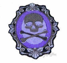 Purple Grey Skull Crossbones Cameo Iron On Embroidery Patch MTCoffinz $12