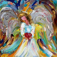 Original oil ANGEL PALETTE KNiFE painting by Karensfineart on Etsy