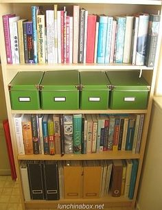Cookbook storage idea. Boxes are for the one clipped out of the paper or a magazine organized I guess whatever way makes sense for you.