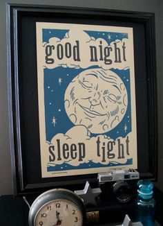 Good Night Hand Printed Letterpress Poster
