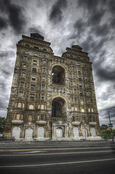 The abandoned Divine Lorraine Hotel in North Philadelphia, PA