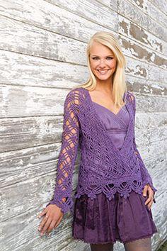 Purple Mist Kimono Sweater by Tammy Hildebrand - FREE in Talking Crochet, from Crochet World!