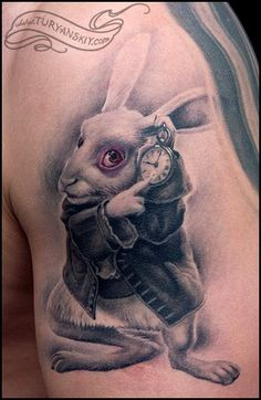 """You might just as well say, that 'I like what I get' is the same thing as 'I get what I like'!"" rabbits, white tattoos, alice in wonderland, sweet tattoos, a tattoo, oleg turyanskiy, important dates, white rabbit, go ask alice"