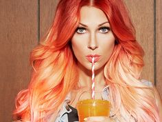 Bonnie McKee ombre red pink orange hair