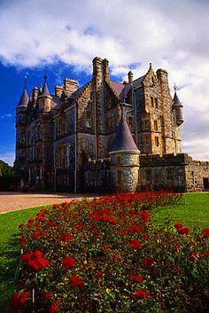 A flower garden in front of the Blarney House at Blarney Castle, Ireland