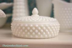 #Milk glass #Jewelry box from #Goodwill.  #Vintage #antique #collection