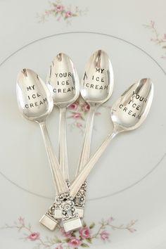 #Silver #vintage ice cream #spoons