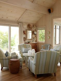 """Sarah Richardson's Canadian lake cottage.  Another view of back section of living room, across from dining """"room.""""  #decor  #cottage  #SarahRichardson"""