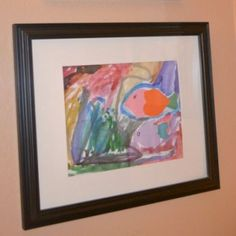 DIY Bathroom Art:  Personalize your child's bathroom with their very own artwork, framed and on display!