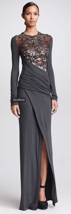 Donna Karan Long-Sleeve Sequined Jersey Gown, Gunmetal - Neiman Marcus
