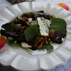 Roasted Fig and Blue Cheese Salad with Candied Walnuts and Dijon Balsamic Vinaigrette - by Candice Kumai