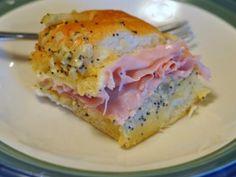 Ham Sandwich on Hawaiian Sweet Roll ummmm yes! Perfect for football food