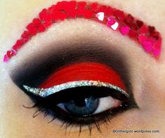 makeup hearts red eyeshadow silver glitter eye shadow cute pretty cool different unique confetti eyebrows