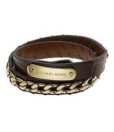 Michael Kors Brown Embossed Leather Wrap Bracelet