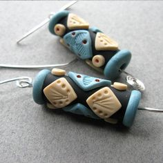 Sparkling Blue and Ivory Polymer Earrings by Roberta Wa on Etsy