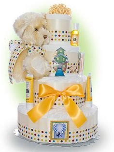 Our Lil' Golden Bear diaper cake is a wonderful neutral cake for gift giving when the parents are waiting for the arrival of their new baby. Only $94.00