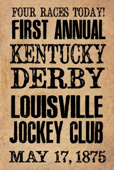 Poster for first KY derby