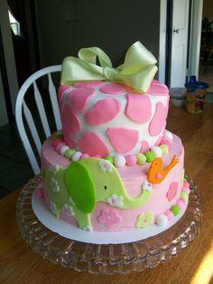 elephant baby girl cake