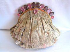Vintage Art Deco Jeweled Frame Purse French Silk