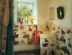 animals, bird baths, bathrooms decor, tile crafts, wall tiles, world of interiors, bathroom ideas, hand drawn, birds