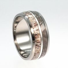 Deer Antler, Meteorite and 14K White Gold inlay Titanium Wedding Band - Meteor Ring Signature Series