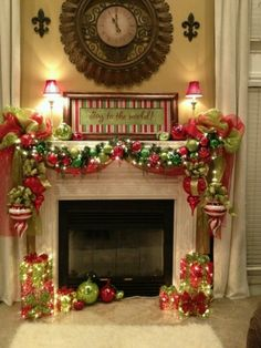 Cute fire place decor holiday, christmas time, christmas fireplace, christmas decorations, christmas ornaments, deco mesh, mantel decorations, christmas mantles, christmas mantels