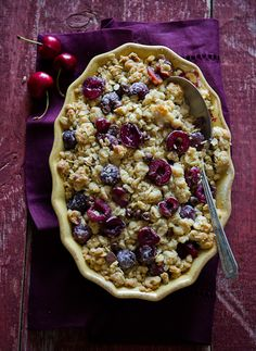 Love this Chocolate Cherry Crisp from White on Rice