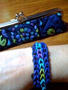 "Triple single Rainbow Loom bracelet inspired by my Vera Bradley ""Indigo Pop"" pattern. (Shaltaylor)"