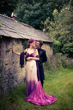 Purple dip dyed wedding dress