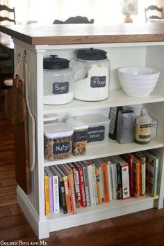 DIY kitchen island made from IKEA butcher block and billy bookcases... I could do so many things besides a kitchen island with this simple setup!