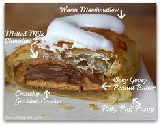 peanuts, puff pastri, food, smore turnov, recipe girl, butter smore, fun recip, peanut butter, dessert