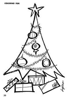 Retro Christmas Tree - from an old coloring book