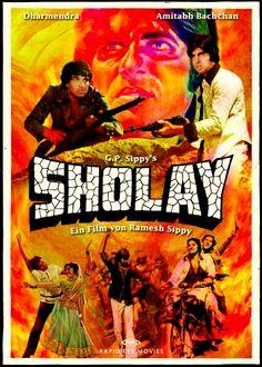 Sholay (1975), Amitabh Bachchan, Classic, Indian, Bollywood, Hindi, Movies, Posters, Hand Painted