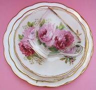 Vintage Royal Albert American Beauty Pink Rose China Teacup Trio - Cup Saucer Plate - Lush Warm Big Summer Blossom Flowers Porcelain Tea.