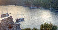 Gulet boats staying overnight in Gemiler Island, Turkey