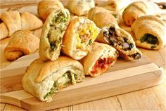 Great idea for pot lucks or apps! Savory Stuffed Crescent Roll ( or pizza dough) Recipes: (1) Black beans with red onion, cheese and cilantro, (2) Proscuitto, egg and basil, (3) Broccoli and Cheddar, (4) fire-roasted tomato and spicy sausage