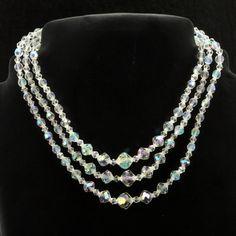 Crystal Aurora Borealis 3-Strand Necklace Choker Vtg.