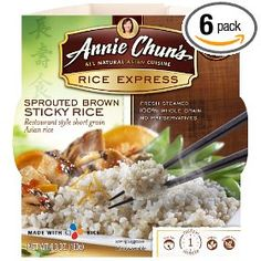 Annie Chun`s Rice Express Sprouted Brown Sticky Rice, 6.3-Ounce Microwavable Bowls (Pack of 6)