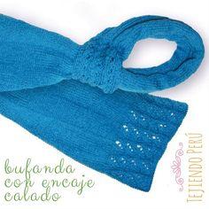 Bufanda con encaje en punto calado tejida en dos agujas o palitos! El paso a paso ya está en nuestra web: www.tejiendoperu.com :)