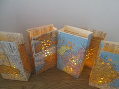 State Themed Luminaries, Travel Theme, Map Decor, Wedding Decor Maps, United States, US States, Map Decor, Map Art, Paper Sculpture, Orange. $35.00, via Etsy.