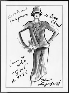 """Imaginary portrait of Coco Chanel wearing her 1926 """"Ford"""" dress by Karl Lagerfeld. """"Fashion is made to become unfashionable."""""""
