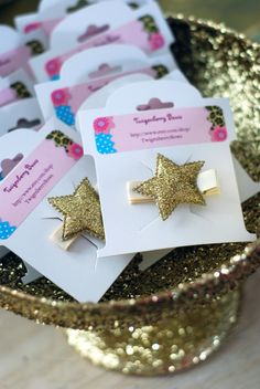 Gold star favors at a Princess Party #princess #partyfavors HECK YEAH!!!