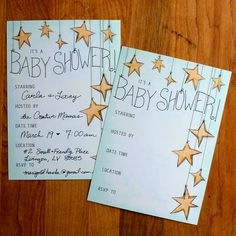 Free Printable Baby Shower Invitations. Mint green with gold stars. Design and illustrations by @Steve Benson Benson Haske for Hideous! Dreadful! Stinky!