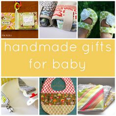 Handmade Gifts to Sew for Baby. Adorable booties / loaphers, burpies, and a pacifier clip.