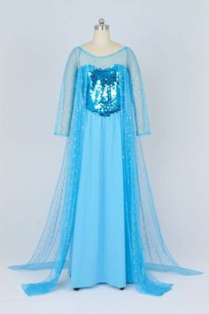Disney Frozen Snow Queen Elsa Costume Cosplay Blue Fancy Garceful Dress Tailor Made:Amazon:Toys & Games