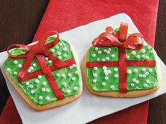 "Add chewy fruit snack ribbon to iced sugar cookies, to make little edible ""presents""."