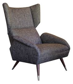 JARVIS WONG'S PICK - Vintage Italian Brown Poltrona Wing Back Chair - $3900.